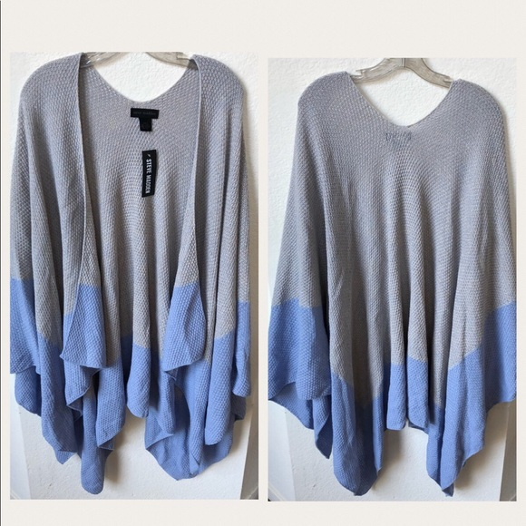 Steve Madden Sweaters - Steve Madden Gray Blue Knit Wrap poncho sweater